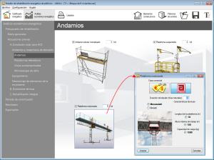 Estudio de rehabilitación energética de edificios. Actuaciones previas. Andamios